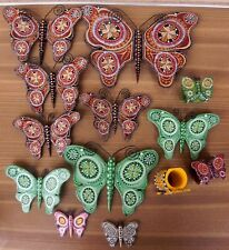 lot decor murale en bois bali et rond de serviette papillon indonésie