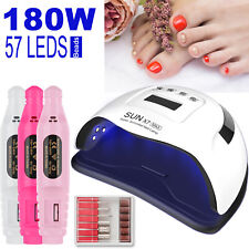 180W Pro Uv Nail Gel Polish Dryer Lamp Eletric Nail File Drill Manicure Machine