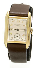 18K Gold Rectangular Patek Philippe Watch with Patek Band, Buckle & Box
