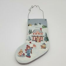 Painted Wooden Stocking Winter Scene Christmas Wall Hanging