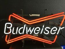 New Budweiser Bowtie Bow Tie Real Glass Neon Sign Beer Bar Light Home Decor