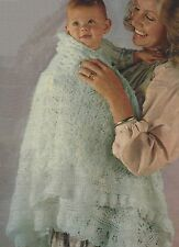 """Baby Lacy Shawl Knitting Pattern 3ply 45"""" square 834"""
