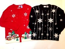 Christmas Sweaters Ugly Cardigans Medium Sparkle Bling Embellished Lot of 2