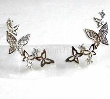 Girl Lady Climber  Butterfly Studs Earrings CZ Cubic Crystal White Gold Plated