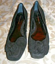 ENZO ANGIOLINI BLACK SUEDE LEATHER FLATS SLIDES LOAFERS LOW HEELS BOW SZ 9 M