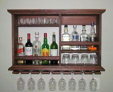 Floating Shelf Mini Bar Liquor Cabinet Rustic Wall Mount Spice Rack Storage Wood
