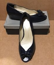 Van Dal Uk Size 8 EE  Marine Navy Patent Delana Peep Toe Wedge Dress Shoes