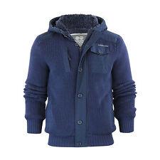 Mens Hooded Cardigan Crosshatch Charnock Heavy Knitted Hoodie Jacket With Fleece Persian Night Medium