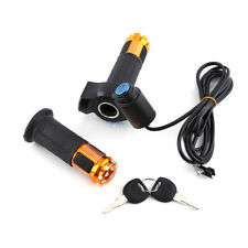12-90v Ebike Electric Scooter Throttle Grip Handlebar With LED Digital Meter SD Golden
