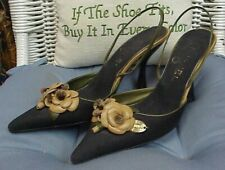 CHANEL designer black fabric/leather slingback heels, sz. 36 1/2 IT; 6 US