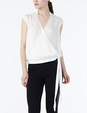 NWT Armani Exchange A X Wrap Banded Collar Blouse Top White w/ tie sz S
