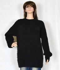 hand knit 90% ANGORA rabbit Pullover BLACK Fuzzy LONG Jumper Crewneck sweater