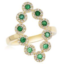 Right Hand Cocktail Wide Bypass Ring 14K Yellow Gold Pave Diamond Emerald
