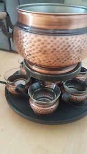 Feuerzangenbowle Set aus Kupfer mit 6 Tassen gebraucht