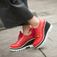Women's Round Toe Loafers Casual Comfy Wedge Heel Lace Up Platform Shoes US4.5-8