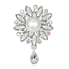 AB Rhinestone Glass White Gold Plated Pearl Graceful Females' Dangle Brooch Pin