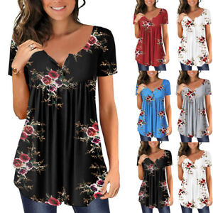 Womens Short Sleeve Summer Loose T Shirts Tee Ladies Floral Tunic Tops Blouse UK