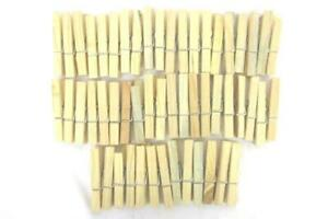 50 ct Lot Vintage Wood Weathered Spring Wired Laundry Clothes Pins Craft Supply