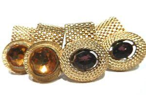 VINTAGE DANTE CUFF LINKS mesh wrap gold tone purple yellow crystal pair lot B2