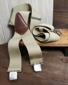 "Carhartt Utility Suspenders 2"" Adjustable Clip-On Work & Hunter Heavy Duty Tan"