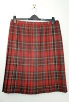 Vintage (UK 20) Country Collection 100% Red Tartan Pleated Kilt Style Midi Skirt