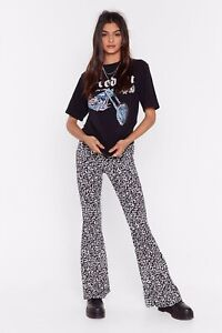 Nasty Gal You Got A Great Flare Leopard Print Flare Pants Trousers Sz 10 NWT