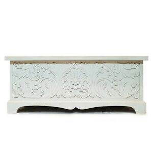 MADE TO ORDER Solid Wood Carved Chest Storage Blanket Box Coffee Table White XL