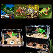 4 Grids Reptile Cage Enclosure Box Tarantula Insect Scorpion Clear Display Case