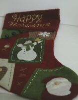 """Christmas Stocking Embroidered Happy Holidays Applique Heart Santa Snowman 19"""""""