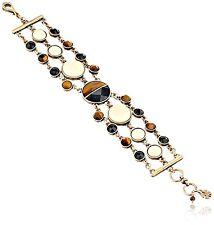 $49 Lucky Brand Jet Black & Tiger's Eye Stone Gold Tone Multi Chain Bracelet NEW