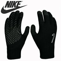 Nike Mens Kids Gloves Knitted Touch Screen Running Childrens Boys Adults Black