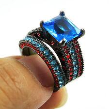 SZ 7 Black Rhodium Plated Wedding Ring Princess Cut Blue CZ Anniversary Cocktail