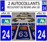 2 STICKERS RECOUVERT DE RESINE PLAQUE IMMATRICULATION DEPARTEMENT DORDOGNE 24