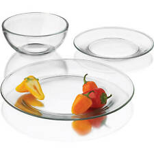24-Piece Moderno Dinnerware Set Dinner Dessert Plates Bowls Clear Glass Dishes