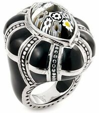 ALAN K. EXQUISITE COLLECTION FACETED BLACK & WHITE MURANO GLASS MARQUISE RING