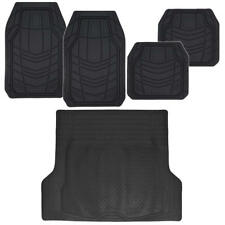 Black Car Floor Mats for Auto All Weather Heavy Duty Rubber w/ Cargo Liner