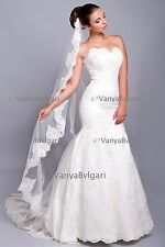 CATHEDRAL VEIL WITH LACE EDGE DESIGN IN ALENCON STYLE IVORY, OR DIAOMOND WHITE