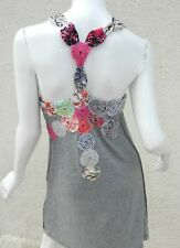 Boheme  DRESS Gray Hippie Boho Rosette Racerback Back Sz S