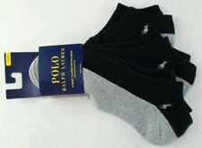 Polo Ralph Lauren Men's No Show Socks 3 Pack Large Black Grey Cushioned Sole PLR