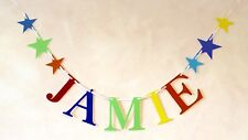BOYS PERSONALISED BIRTHDAY PARTY BUNTING BANNER DECORATION (ANY SINGLE NAME)