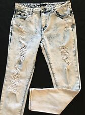 FOREVER 21 Women's Blue Whitewash Disressed Ankle Skinny Jeans Size 28x28 CUTE