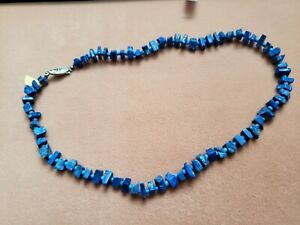 """Hand- Made GENUINE * LAPIS * NECKLACE 16"""" Long - Made in USA"""