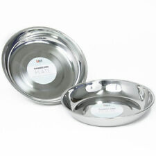 2 x Stainless Steel Plate Dish Round Food Dinner Camping Picnic Metal Tableware