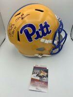 Jim Covert Signed Pitt Panthers Full Size Helmet All American CHOF INSC JSA Pic