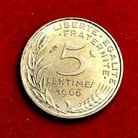 #1791 - RARE - 5 centimes 1966 Marianne SUP/SPL FACTURE