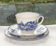 Vintage Royal Doulton Norfolk Pattern D6294 Trio Cup Saucer Plate Blue & White