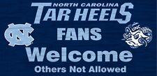 "North Carolina Tar Heels Fans Welcome Wood Sign 12"" x 6"" [NEW] NFL Man Cave Den"