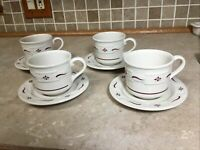 "Set Of 4 Longaberger Pottery ""Woven Traditions"" Red Coffee Tea Cup & Saucer 8 Oz"