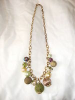 VINTAGE MIX MATERIALS BEAD CHUNKY NECKLACE