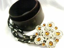 Brown leather look Tassel belt sparkling Amber rhinestone Buckle gypsy Boho OS